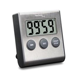Technoline KT200 - klassischer, digitaler Kurzzeitwecker, Küchenuhr, Eieruhr, hochwertiges Edelstahlgehäuse, silber, 6.4 x 1.8 x 7.0 cm - 1