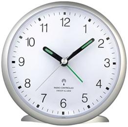 TFA Dostmann 60.1506 Funk-Wecker, leises Sweep Uhrwerk, gut ablesbare Ziffern, mit Funkuhr, 5,2 x 11 x 10,7 cm, silber, Kunststoff - 1