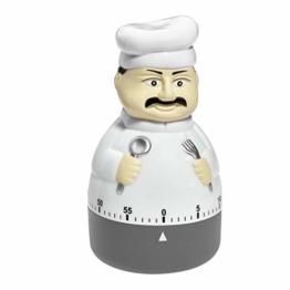 TFA Dostmann Küchen-Timer Koch, 38.1008, Eieruhr, in Form eines Koch, Metall-Aufzugswerk - 1