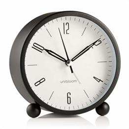 Unibloom Lautloser Wecker Analog – Wecker ohne Ticken mit warmem Licht - Minimalistischer runder leuchtender Metall-Wecker – Modischer Nachttisch-Wecker – Alarm Clock Vintage Deko - 1