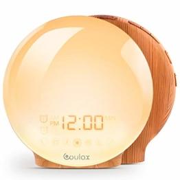 [Upgraded Version] COULAX Wake Up Licht Lichtwecker Holzoptik Tageslichtwecker Licht Wecker mit 2 Weckzeiten 7 Naturgeräuschen und UKW-Radio Snooze Wake Up Light Alarm Clock für Erwachsene & Kinder - 1