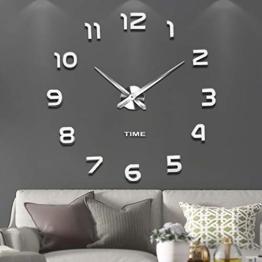 Vangold Moderne Mute DIY große Wanduhr 3D Aufkleber Home Office Decor Geschenk (Silber-42) - 1