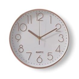 30cm Rund Wanduhr Modern Quartz Lautlos Wanduhr ohne Tickgeräusche Küchenuhr Wand für Wohn Schlaf Kinderzimmer Büro Cafe Restaurant - Rosegold - 1