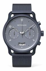 DETOMASO SORPASSO Chronograph Blue Herren-Armbanduhr Analog Quarz Mesh Milanese Uhren-Armband Blau - 1