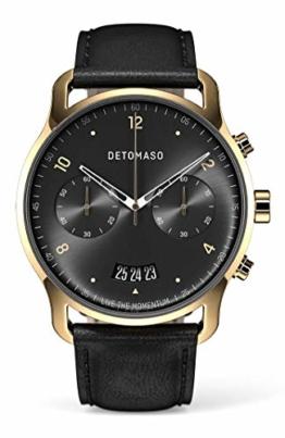 DETOMASO SORPASSO Chronograph Gold Black Herren-Armbanduhr Analog Quarz Italienisches Lederarmband Schwarz - 1