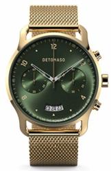 DETOMASO SORPASSO Chronograph Gold Green Herren-Armbanduhr Analog Quarz Mesh Milanese Uhren-Armband Gold - 1
