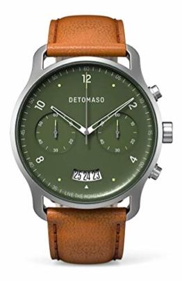 DETOMASO SORPASSO Chronograph Green Herren-Armbanduhr Analog Quarz Italienisches Lederarmband Braun - 1