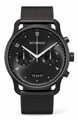 DETOMASO SORPASSO Chronograph Limited Edition Black Herren-Armbanduhr Analog Quarz Mesh Milanese Uhren-Armband Schwarz - 1