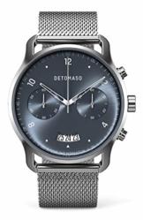 DETOMASO SORPASSO Chronograph Silver Blue Herren-Armbanduhr Analog Quarz Mesh Milanese Uhren-Armband Silber - 1