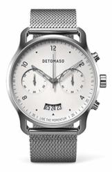 DETOMASO SORPASSO Chronograph Silver White Herren-Armbanduhr Analog Quarz Mesh Milanese Uhren-Armband Silber - 1