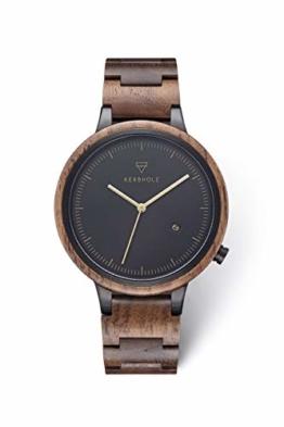 KERBHOLZ Holzuhr – Classics Collection Lamprecht analoge Quarz Uhr für Herren Gehäuse und verstellbares Armband aus massivem Naturholz, Ø 42mm, Walnuss Gold - 1