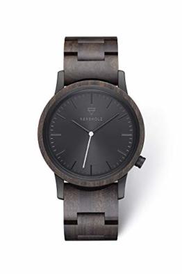 Kerbholz Holzuhr – Classics Collection Walter analoge Unisex Quarz Uhr, Gehäuse und verstellbares Armband aus massivem Naturholz, Ø 40mm - 1