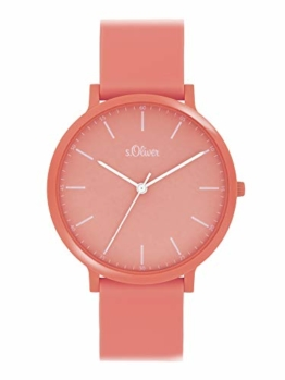 s.Oliver Unisex Analog Quarz Uhr mit Silicone Armband SO-4066-PQ - 1