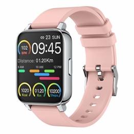 Smartwatch, 1.69 Zoll Touch Farbdisplay Fitness Uhr, mit Pulsmesser und Schlafanalyse, Musiksteuerung, Stoppuhr, Kamerasteuerung, IP67 Wasserdicht Damen Sport Armbanduhr, für iOS Fitness Tracker Rosa - 1