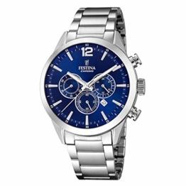 Festina F20343/7 Armbanduhr, Stahl, blauer Hintergrund - 1