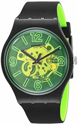 Swatch Herren Analog Quarz Uhr mit Silikon Armband SUOB166 - 1